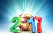 2017 Joyful worldwide symbol. 2017 New Year colorful type composed with a golden planet earth, on a shining light background - 3D illustration Royalty Free Stock Photography
