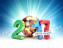 2017 Joyful worldwide symbol. 2017 New Year colorful type composed with a golden planet earth, on a shining light background - 3D illustration royalty free illustration