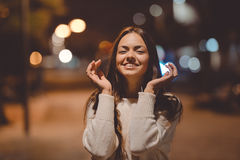 Joyful young beautiful lady with fascinating smile stock images