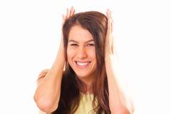 Joyful young brunette woman Stock Image