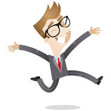 Joyful young businessman jumping Stock Images