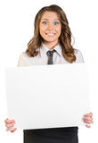 Joyful young girl holding a blank poster Royalty Free Stock Photos