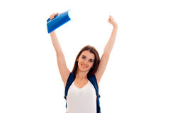 Joyful young girl raised her hands up and laughs Stock Photography