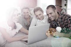 Joyful young people on a laptop Royalty Free Stock Photography