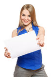 Joyful young woman holding empty white board Stock Images