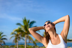Joyful young woman on tropical caribbean travel Royalty Free Stock Photo