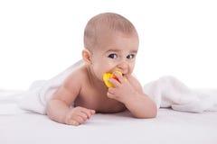 Joyfull baby child after bath time isoalted on white Stock Photos