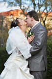 Joyfull couple bride and groom in park Stock Images