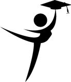 Joyfull graduate. Silhouette drawing of successful and joyful graduate Royalty Free Stock Image