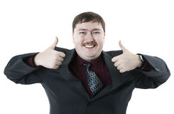 Joyfully exclaiming man businessman Stock Photos