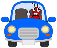 A joyous ant in a blue car Royalty Free Stock Images
