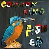 Joyous child-s world, mixed media, bird, Common Kingfisher Stock Image