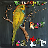 Joyous child-s world, mixed media, bird, European Bee-Eater Royalty Free Stock Photos