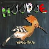 Joyous child-s world, mixed media, bird, Hoopoe Royalty Free Stock Photo