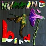 Joyous child-s world, mixed media, bird, Hummingbird Royalty Free Stock Photography