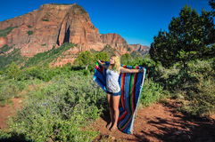 Joyous Girl Expressing Happiness at Zion National Park Stock Images