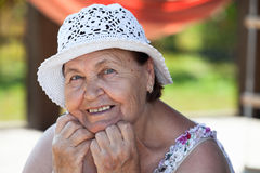 Joyous happy Caucasian senior woman face Стоковое фото RF