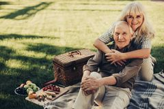Joyous mature couple spending time together outside Royalty Free Stock Photos