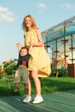 Joyous woman with happy little boy royalty free stock photography