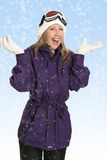Joyous woman in snowfall Royalty Free Stock Photography