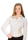 Joyous young woman clenched fist arm Royalty Free Stock Photography