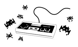 Joypad for videogame with enemies. Illustration of a joystick / joypad in black and white with some typical arcade enemies. Brand removed Royalty Free Stock Photo