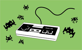 Joypad for videogame with enemies. Illustration of a joystick / joypad with some typical arcade enemies (with green background). Brand removed Royalty Free Stock Photography