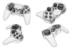 Joypad wire. Game-pad or joy-pad 3d image wire rendering Stock Images