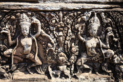 Joys of Dancing Apsara in Bayon Temple Royalty Free Stock Photos
