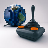 Joystick. Render of a joystick connected to a Blocky world Royalty Free Stock Photo