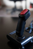 Joystick arcade game for computer and console from 80& x27;s. Black c. Joystick arcade game for computer and console from 80& x27;s. Black color with red Stock Image