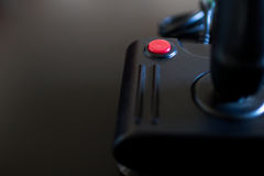 Joystick arcade game for computer and console from 80& x27;s. Black c. Red button from 80s console game. Retro gaming device Stock Image