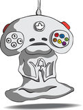 The joystick as an alien. The meditator alien with his head in the form of a game joystick Royalty Free Stock Images