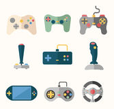 Joystick flat icons Stock Photos