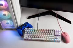 Free Joystick, Gaming Keyboard And Mouse With RGB LED Light. Stock Photography - 216622582