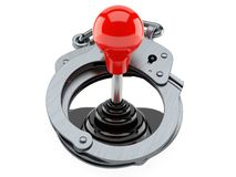 Joystick with handcuffs. Isolated on white background. 3d illustration Royalty Free Stock Image