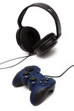 Joystick and headphone Stock Photo