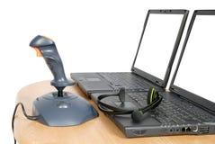 Joystick with laptops Royalty Free Stock Photography