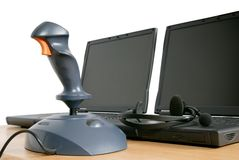 Joystick with laptops Stock Photos