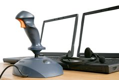 Joystick with laptops Royalty Free Stock Images
