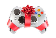 Joystick with red ribbon and bow Royalty Free Stock Photo