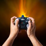 Joystick remote control in hand Stock Photography