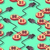 Joystick retro seamless pattern. Gampad Game console 8 bit textu Royalty Free Stock Image
