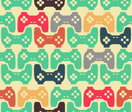 Joystick seamless pattern. Retro gamepad texture. Vintage video. Game accessory background. console gadget ornament Royalty Free Stock Image