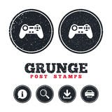 Joystick sign icon. Video game symbol. Grunge post stamps. Joystick sign icon. Video game symbol. Information, download and printer signs. Aged texture web vector illustration