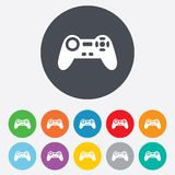 Joystick sign icon. Video game symbol. Round colourful 11 buttons Vector Illustration