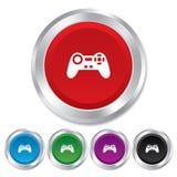 Joystick sign icon. Video game symbol. Round metallic buttons stock illustration