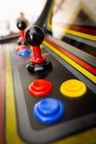 Joystick of a vintage arcade videogame - Coin-Op. A view of a joystick of a vintage arcade videogame - Coin-Op Stock Photos