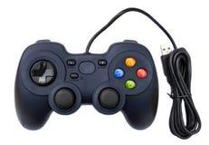 Joystock preto para o jogo de vídeo do console no fundo isolado Fotografia de Stock Royalty Free