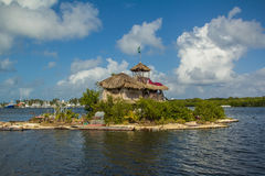 Joysxee Floating Bottle Island. Richart Sowa built Joysxee, the Floating Bottle Island by himself, with over 150,000 plastic bottles. Shown on MTV Extreme Cribs Stock Photo
